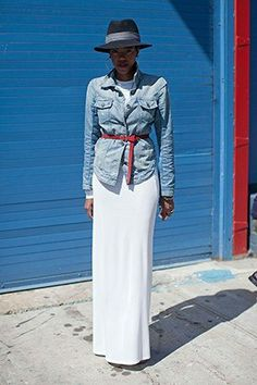 Denim Jacket: Lucky Magazine *layer tricks to steal from street style  *belted denim jacket