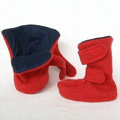First shoes made of boiled wool, red