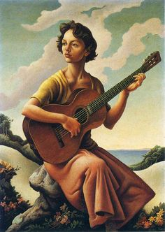 Jessie with guitar (1957). Thomas Hart Benton (American, 1889-1975). Oil on masonite. Jessie is Benton's daughter. Benton declared himself an enemy of modernism; he began the naturalistic and representational work today known as Regionalism. He expanded the scale of his Regionalist works, culminating in his America Today murals.