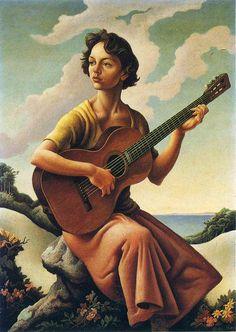 Jessie with Guitar - Thomas Hart Benton