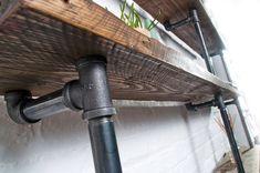 James Bespoke Reclaimed Scaffolding Boards and Dark Steel Pipe