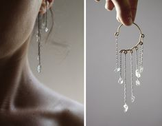 Quartz Crystal Ear Cuff Oxidized Silver Ear Wrap No by knobbly, $46.00