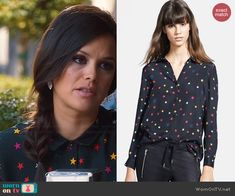 Zoe's star print shirt on Hart of Dixie.  Outfit Details: http://wornontv.net/44541/ #HartofDixie