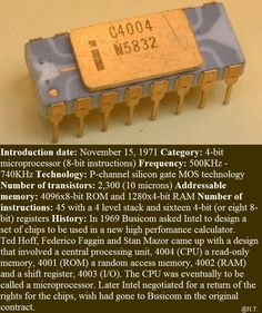 November 15th, 1971: Intel releases world's first commercial single-chip microprocessor, the 4004.