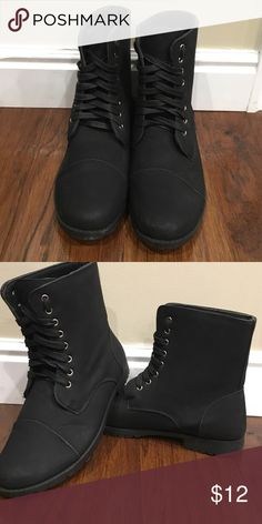 Black Lace Up Lightweight Combat Style Boots All black with laces. Only been worn once! Super light weight & comfy. Just too big for me! Shoes Combat & Moto Boots