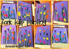 Tulip Craft - painting with forks! theautismhelper.com