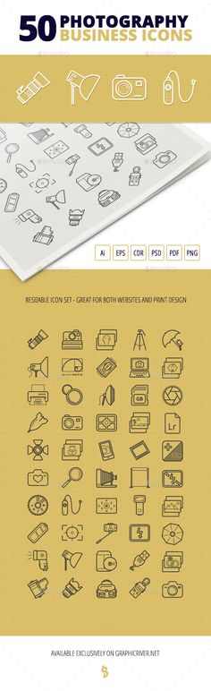 50 Photography Business Icons - #Business #Icons Download here: https://graphicriver.net/item/50-photography-business-icons/19632474?ref=alena994