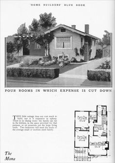 1925 Small Bungalow - Vintage House Plan for a Tiny Home - Home Builders Blue Book by William A. Radford - Mona Model - Modern 1920s