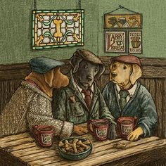 Ready to Hang Labrador Retriever Art - Irish Coffee This illustration of three Labrador Retrievers chatting at the pub was inspired by my own Labs, Maddie and Milo, and their love of spending time with friends. This framed print would make a fantastic gift for any dog lover in your life. I sell this size print in a ready to a hang frame so people can have the fun of opening their package when it arrives and displaying the artwork right away. The illustrations are printed on acid free paper…