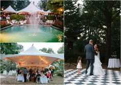 Wedding reception above Ashford Manor's pool terrace