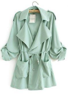 // Turndown Collar Button Closure Green Trench Coat