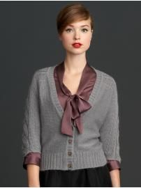 Banana Republic Mad Men Collection Cabled Dolman Cardigan and Tie Neck Top