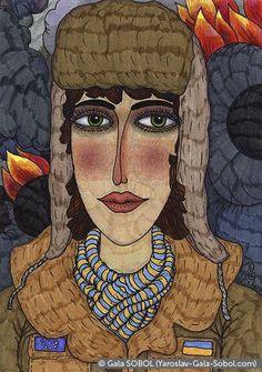 GALA SOBOL The girl from Euromaidan in Kyiv – 1. 2014. Mixed media. 14,7x10,5 (5 3/4 x 4 1/8 in) // Дівчина з Євромайдану в Києві –1. 2014. Мішана техніка. 14,7x10,5
