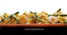 INGREDIENTES 1 Manojo de Espárragos Trigueros (250gr aprox.) 150 gr de gambas peladas 1/2 cebolla 2 Huevos Sal y Pimienta PREPARA...
