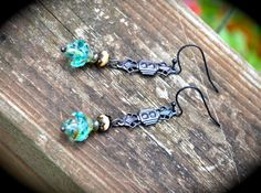 Teal and Bronze Earrings by practicallyfrivolous on Etsy, $28.00