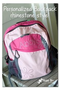 Personalized Backpack with Rhinestones from Sugar Bee crafts