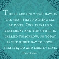 """""""There are only 2 days in the year that nothing can be done. One is called yesterday and the other is called tomorrow, so today is the right day to love, believe, do and mostly live."""" -Dalai Lama"""
