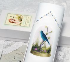 A ladies single hankie printed with a vintage French image of a Blue bird, what a lovely gift for her!