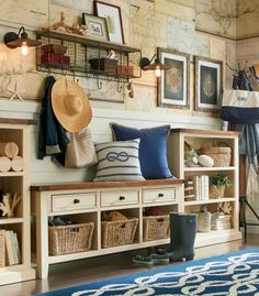 Maps on Wall for  Nautical Entryway.... http://www.completely-coastal.com/2016/10/simple-entryway-storage-ideas-with-benches.html