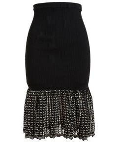 ALEXANDER MCQUEEN   Stretch-Rib Flared Pencil Skirt ✿