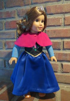 "Frozen Anna inspired dress for 18"" doll. $38.00 click through to my etsy shop! Janie Carroll Designs"
