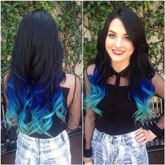 Black Blue Light Blue Synthetic Hair Extensions With Closure 3 Bundles Body Wave Ombre Blue color Synthetic Hair Weft Extensions Ombré Hair, Dye My Hair, Hair Dos, New Hair, Halo Hair, Hair Weft, Ombre Hair Extensions, Synthetic Hair Extensions, Ombre Hair Azul
