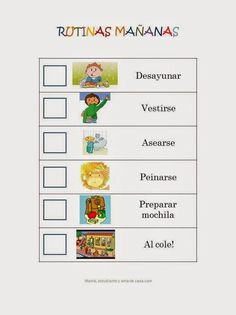 Cartel rutinas de la mañana para niños Kids Education, Special Education, Family Tree Worksheet, Preschool Schedule, After School Routine, Spanish Lessons, Aspergers, Kids House, School Projects