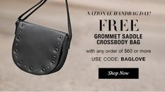 #Freebies #GWP #ILoveAvon #AvonGifts #NationalHandbagDay FREE Grommet Crossbody Bag with ANY $60+ Online Order. Use Code: BAGLOVE Expires Midnight ET, 10/10/2016.  While Supplies Last. Shop Our Online Store at https://pjack.avonrepresentative.com/set?setlang=1&exm=RepLinks