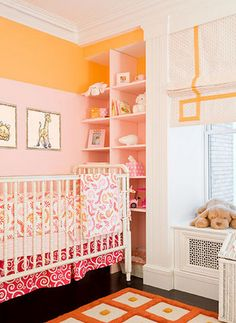 pink & orange girls bedroom! I love these 2 colors together, I think I'll do this next time we re-decorate daughters room