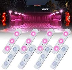 Xprite Purple 8 LED Off Road Rock Light Pods Truck Bed Lighting Kit with Switch JeepAccessories Jeep Offroad Accessories, Pink Car Accessories, Truck Interior Accessories, Vehicle Accessories, Diy Truck Interior, Truck Bed Lights, Pink Truck, Girly Car, Pickup Trucks