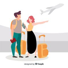 Flat happy couple traveling background F. Couple Illustration, Travel Illustration, Late Happy Birthday Wishes, Human Vector, Peace Poster, Travel Drawing, Communication Art, Couple Drawings, Travel Couple