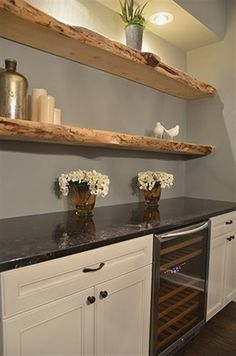 Creative Shelving Ideas for Kitchen - Diy Kitchen Shelving Ideas - Rustic Decor - Shelves in Bedroom Floating Shelves Kitchen, Wooden Wall Shelves, Rustic Shelves, Kitchen Shelves, Diy Kitchen, Kitchen Decor, Design Kitchen, Kitchen Wood, Studio Kitchen