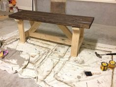 DIY Farmhouse Bench: Over the weekend I began work on another DIY Farmhouse Bench. For the record this is the second time i've used the Home Depot plans for the bench.