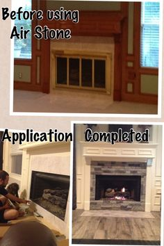 Air stone at lowes turns a builder grade fireplace into - Airstone exterior adhesive alternative ...