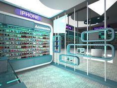 Mobile shop Visualization on Behance Cell Phone Store, Phone Shop, Mobile Shop Design, 3ds Max, Cabinet Design, Display Shelves, Store Design, Krishna, Showroom