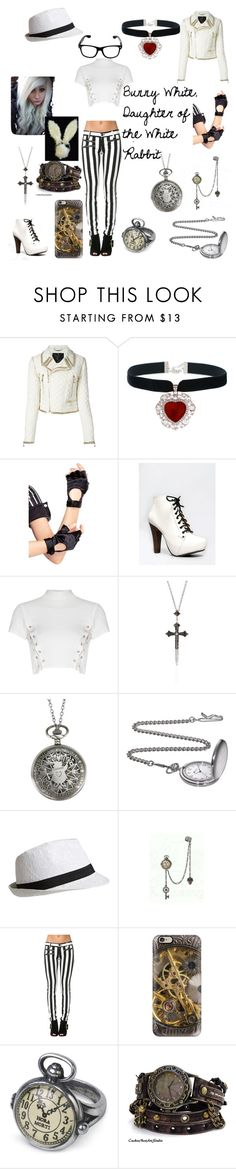 """""""Bunny White, Daughter of the White Rabbit"""" by frostbiten ❤ liked on Polyvore featuring Philipp Plein, Leg Avenue, Qupid, Glamorous, Nayla Arida, Disney and Casetify"""