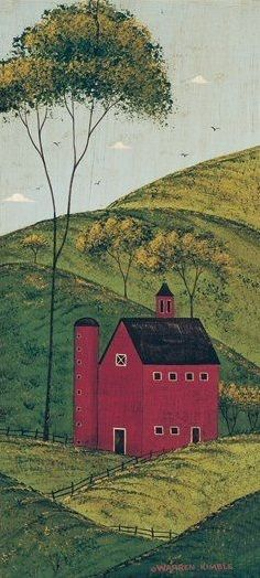 Barn (Warren Kimble)  texture within landscape