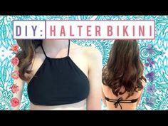 DIY Bikini Halter Top From Old Bather Bottoms - YouTube