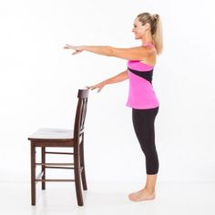 Stand with feet together about 1 foot away from a sturdy chair. Lightly holding onto the chair with right fingertips, extend left arm out in front of chest with palm facing down.