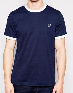 Image 3 of Fred Perry T-Shirt with Constrast Neckline in Dark Carbon