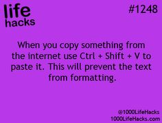 check out this life hack! When you copy something from the internet use Ctrl + shift + V to paste it this will prevent the text from formatting keyboard command life hacks Simple Life Hacks, Useful Life Hacks, Computer Help, Computer Tips, Computer Literacy, Computer Art, 1000 Lifehacks, Tech Hacks, Art Hacks