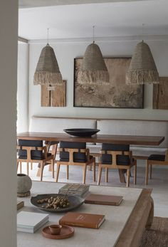Rumah Purnama Villa in Ubud, Bali by Studio Jencquel | Yellowtrace Sisal, Ubud Villas, Bali, Dining Chairs, Dining Table, Dining Rooms, Indoor Outdoor Living, Thatched Roof, Beautiful Interiors