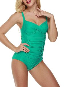 3bdf888f3 Amazon.com  Ekouaer Womens One Piece Swimsuits Elegant Inspired Vintage Pin  up Monokinis Tummy Control Swimwear Shirred Bathing Suits  Clothing
