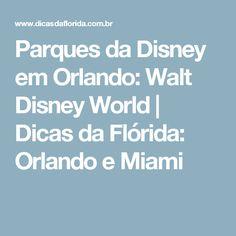 Parques da Disney em Orlando: Walt Disney World | Dicas da Flórida: Orlando e Miami