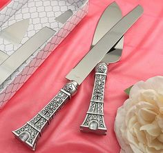 Eiffel Tower Wedding Cake Server Set | Cake Knife and Server