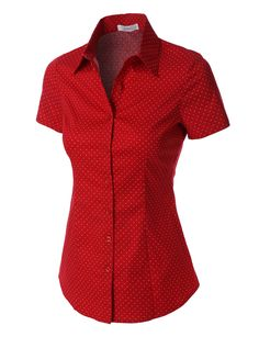 This polka dots short sleeve button down tailored shirt is made with a lightweight and breathable fabrication for comfort. Pair it with our skinny denim or maxi skirt for a complete look. Feature - 97% Cotton / 3% Spandex - Lightweight, soft material for comfort - Full color matched button down closure - Front and back detail stitching / Spread collar - Hand wash cold or dry clean - Please look at the measurements below for guidance Sizing Info - X-Small- Bust: 33in Shoulder: 14in Sleeve…