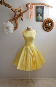 The Lucille' - Vintage 1950's yellow cotton full skirt dress. $60 aud