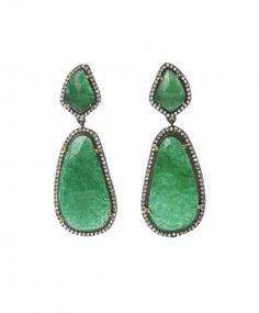 Latitude Bazaar - Green Stone Teardrop Earrings