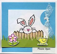 Peeking Bunny Card & DIY Directions from GreatImpressionsStamps.com