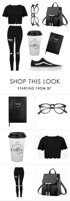 """Back to School contest entry"" by darkerizzy ❤ liked on Polyvore featuring Sloane Stationery, Ted Baker, Topshop and Vans"